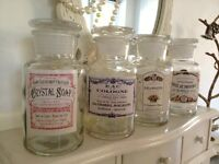 Decorative Vintage Style Glass Bottle Perfume Pots Aged French Labels