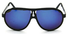 Sports Aviator Sunglasses Oversized Oval Retro Fashion Blue Mirror
