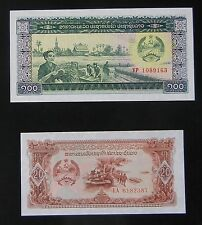 Set Of 2 BEAUTIFUL CRISP UNCIRCULATED 1979 Laos Banknotes (20 KIP & 100 KIP)