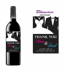 MUM & DAD PARENTS WEDDING DAY THANK YOU WINE BOTTLE LABEL GIFT