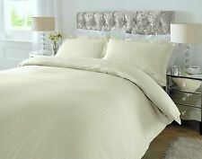Downton Duvet Cover King Bed Size 100% Egyptian Cotton Sateen Stripe Cream