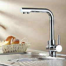 Modern Chrome Solid Brass Kitchen Sink Basin 3 Way Pure Water Filter Mixer Tap