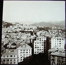 ROSCH Glass Magic lantern slide GENOA GENERAL VIEW OF CITY C1900 ITALY RIVIERA