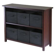 2 Shelf Verona Storage with 6 Baskets Walnut/Black - Winsome