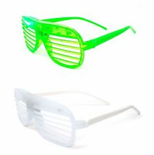 1 Green 1 White Flashing Retro LED Shutter Style Glasses Slotted Adults Party