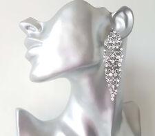 Splendido 8cm Lunghi Tono Argento-Diamante Filigrana intricata Design Orecchini Pendenti