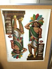 Schmidt's Beer Press Sheet Poster Sign Bayuk Cigar Indian 1960's