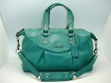 Coach Ashley Jade Green Leather Satchel-Tote-Handbag #19247