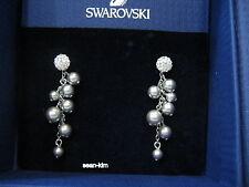 Swarovski Rumor Pierced Earrings, Timeless Grey Crystal Pearls MIB - 1121123