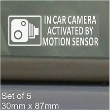 5 x In Car Camera Activated Motion Sensor Stickers-CCTV Recording-Car,Van,Taxi
