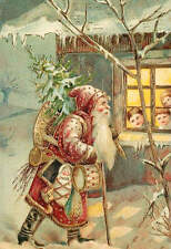 Old Time Santa Children in Christmas window vintage art