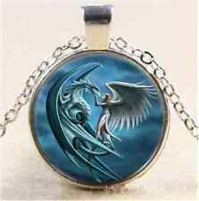 A Dragon And Angel Cabochon Glass Tibet Silver Chain Pendant  Necklace