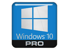 """Windows 10 PRO"" (Professional) Logo 1""x1""  Chrome Effect Domed Case Sticker"