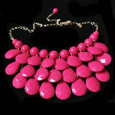 NEW Preppy Pink Bubble Bib Resin Statement Necklace Gold Tone Chain Adjustable
