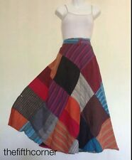 Patchwork Hippie Gypsy Hobo Cotton Wrap Around Skirt Dress Batik Handmade Nepal