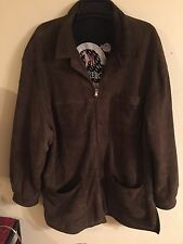 MARCO PIERGUIDI Brown Leather Suede Jacket Mens XL ITALY Duffel Coat