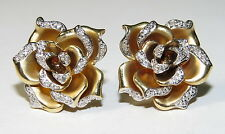 14K Yellow White Satin Gold Diamond Flower Rose Floral Omega Earrings