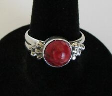 Native American Navajo Sterling Red Apple Coral Ring Size 8 Running Bear