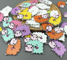 50pcs Lovely Cartoon sheep Wooden sewing buttons Mix color scrapbooking 24mm