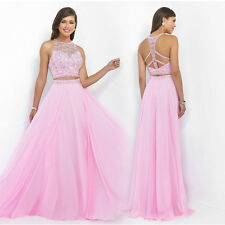2016 Pink Beads Evening Dress Two Pieces A-line Chiffon Prom Gown SZ 2 4 6 8 10+