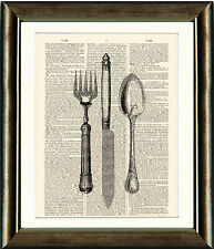 Old Book page Art Print - Vintage Cutlery 1 Knife Fork Spoon Dictionary Wall Art