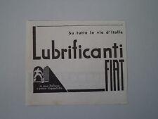 advertising Pubblicità 1934 OLIO LUBRIFICANTI FIAT