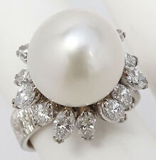 STUNNING Vtg 14K White Gold 2.5ctw DIAMOND H-I VS2 & 16mm Pearl Cocktail Ring