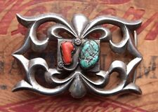 Vintage Hand Made Sterling Silver Cast Turquoise Coral Western Belt Buckle