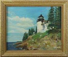 1940's Bass Harbor Lighthouse, Maine, in Original Vintage Frame, Signed