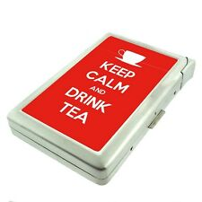 Metal Cigarette Case with Built In Lighter Keep Calm and Drink Tea Design-018