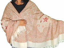 Ivory Embroidered Paisley Shawl Evening Wool Dress Wrap Long Winter Scarf 80""