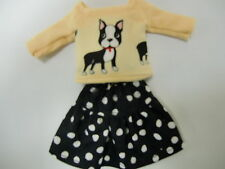 Blythe/Skipper Outfit Clothing Boston Terrier Top w/Black/white dotted skirt