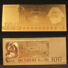 GERMANY DDR BANKNOTE 100 HUNDERT MARK 1975 GOLD REPLICA