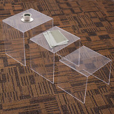 3 Pcs Modern Clear Acrylic Stacking Nesting End Coffee Table Set Home Furniture
