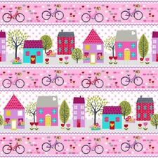 Studio E Around Town Fabric. Border print. girls, pink, houses, bicycle, per FQ