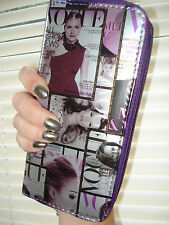 Ladies Vogue Fashion Mag Purse Purple/Black/White 2 Zipped Sections Gift NEW