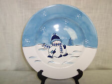 Canterbury Potteries Snowman Dinner Plate Replacement Blue White Hand Painted