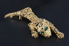 HINGED MOVABLE BODY GREEN STONES LEOPARD BROOCH FASHION 1570