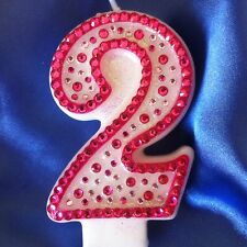 Birthday Candle Number Two 2 Diamante Topper Pink Princess Party FREE POSTAGE