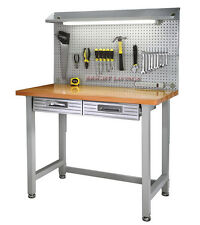 New Steel Frame Wood Top Work Bench Workbench Built In Light Fixture Power Strip