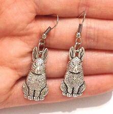 Lady Men Lovely Tibet Silver Rabbit Easter Hare Bunny Dangle Hook Earrings Gift