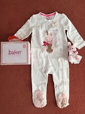 Ted Baker Baby Girls Romper Sleepsuit Soft Toy Bunny Gift Set 12-18 Months