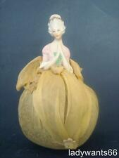 ANTIQUE GERMAN PIN CUSHION HALF DOLL ON LAVENDER FILLED BASE