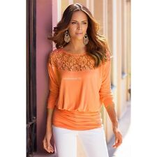 Sexy Fashion Long Sleeve Loose Casual Women T-Shirt Off Shoulder Top Blouse Lace