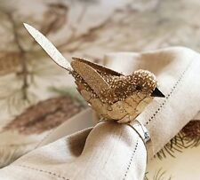 S/4 Pottery Barn Gold Winter Bird Napkin Rings - New In Package