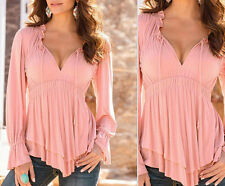 Plus Size Womens Sexy-V Tops Loose Long Sleeve T-Shirt Casual Blouse Top