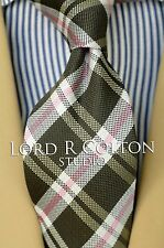 Lord R Colton Studio Tie - Hunter Green & Pink Check Necktie - $95 Retail New