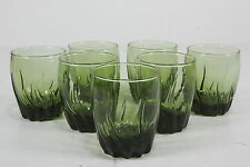 Anchor Hocking Green Glass Rocks Tumblers Central Park Starfire Set Of 7