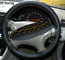 FOR MERCEDES S CLASS W220 98-05 BLACK LEATHER STEERING WHEEL COVER YELLOW STITCH