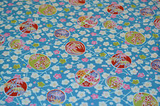 Japanese Cotton Blue Cherry Blossoms and Balls CF19